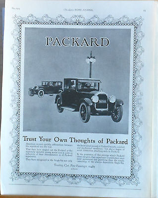 1923 magazine ad for Packard - American Women singled out Packard, touring car