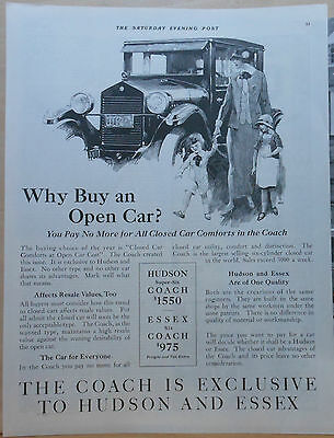 1924 magazine ad for Hudson - Closed Car Comforts at Open Car Cost, Why Buy