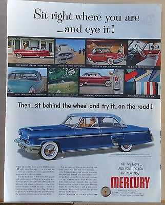 1953 magazine ad for Mercury - Eye it, then sit behind the wheel & try it