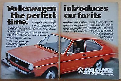 1974 two page magazine ad for Volkswagen - red Dasher, Perfect Car for Its Time