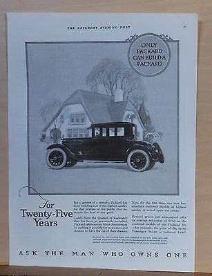 1925 magazine ad for Packard  - For Twenty Five years cars of highest quality