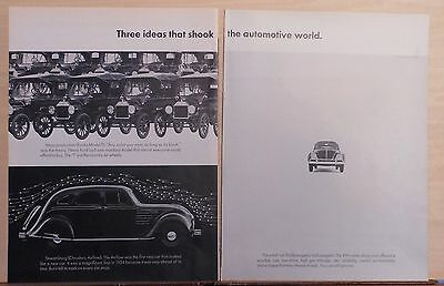 1968 two page magazine ad for Volkswagen - 3 that ideas that shook auto world