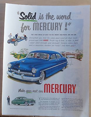 Vintage 1949 magazine ad for Mercury - Solid is the word, Brawny Road proven
