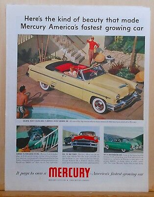 1950's magazine ad for Mercury - convertible at poolside, years ahead styling