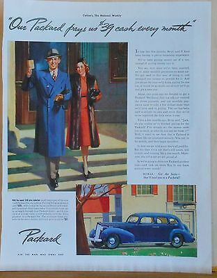 1938 magazine ad for Packard - blue Packard Six Touring Sedan, happy couple