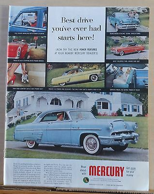 Vintage 1953 magazine ad for Mercury - Best Drive Ever, optional power features