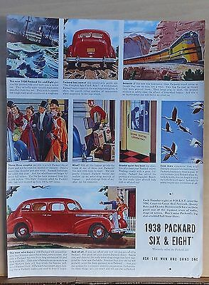 1937 magazine ad for Packard - 1938 Six & Eight, colorful illustrations