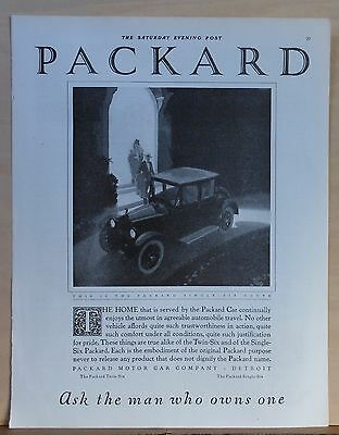 1921 magazine ad for Packard Six - Single Six Coupe, Utmost in agreeable travel