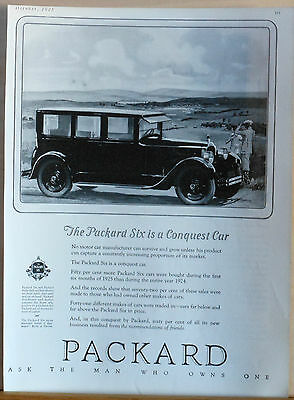 1925 magazine ad for Packard - Packard Six in countryside, A Conquest Car