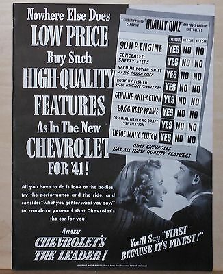 1940 magazine ad for Chevrolet - Low Price buys High Quality Features, Chart