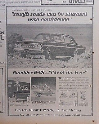 1963 newspaper ad for Rambler - Rough Roads Stormed with Confidence, Classic