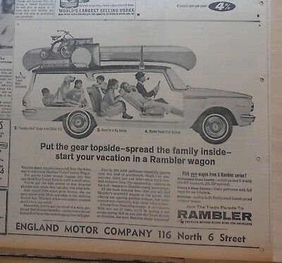 1962 newspaper ad for Rambler - Cross Country Wagon, Put gear on top, family in