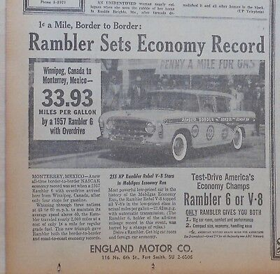 1957 newspaper ad for Rambler - NASCAR  Economy Record, 1 cent a mile