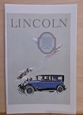 1926 magazine ad for Lincoln - inside drive limousine, sledders in background