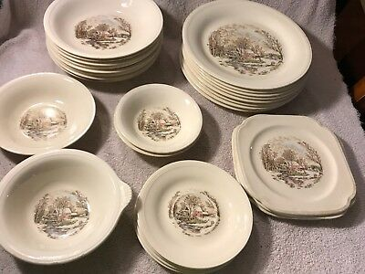 Vintage Lot Of 27 Winter Scenes Farm Mill Edwin Knowles China Dinnerware