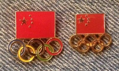 Lot of 2 China Olympic NOC Pins ~ 2000s Generic ~ 5 rings in color and gold tone