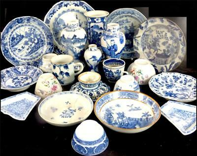 X23 Antique Chinese Blue & White Porcelain Cups Vases Kangxi Qianlong + Later