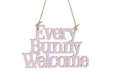 NEW Every Bunny Welcome Easter Pink Spotty Decoration Wall Hanging Sign Plaque