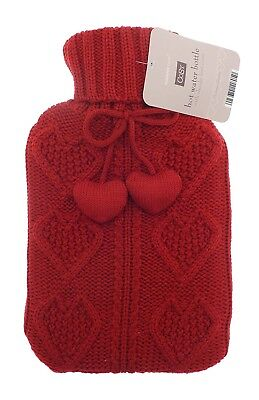 Cable Heart Knit Pom Pom 2L Hot Water Bottle (Red)