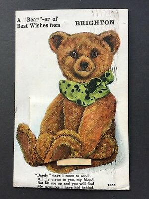 """Valentine's Brighton pull out postcard teddy bears """"A bear-er of best wishes"""""""