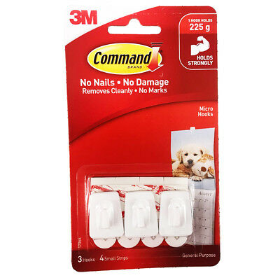 3M Command Micro Hooks Pack of 3 Hold up to 225g Damage Free Free P&P Free Post