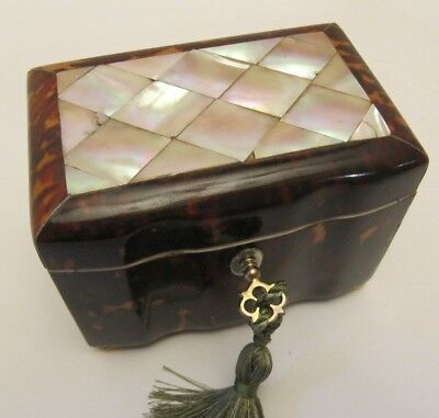 Antique 19th Century Tortoiseshell Tea Caddy Circa 1820 with key mother of pearl