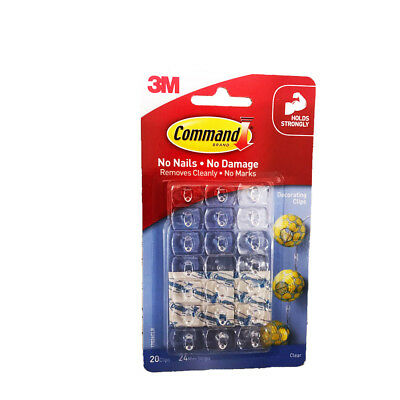 3M COMMAND Damage Free Hook Clear Decorating Clip 20 Clips 24 Strips New