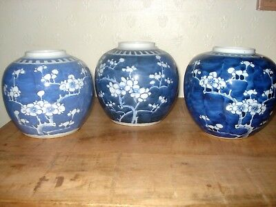 3xchinese 19th century qing period blue white ginger jars