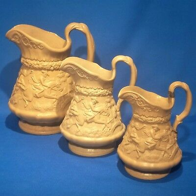 Antique 1835 RIDGWAY - Robert Burns - Tam o'Shanter - TRIO OF GRADUATED JUGS