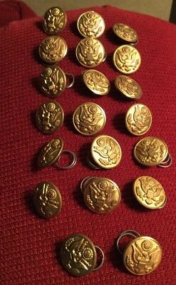 20 WW2 Military Brass Army Buttons By Superior Quality Vintage