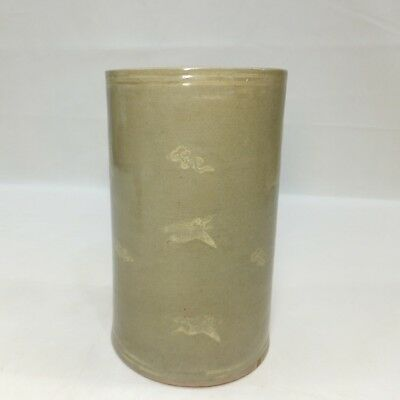 F635: Korean vase of Goryeo inlaid celadon porcelain style with good atmosphere