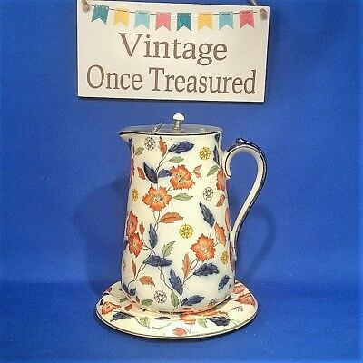 Antique c1913 - Sampson HANCOCK & Sons (S H & S) - LIDDED JUG with STAND - VGC