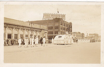 RP; Parade, WINNIPEG, Manitoba, Canada, 1931; Women and Float marching in front
