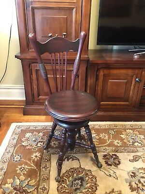 Adjustable Victorian Piano Stool With Glass Claw Feet Antique Back- pick up only