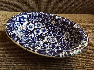 Vtg Burleigh Calico Soap Dish Oval Blue White Flowers Floral Staffordshire Engl.