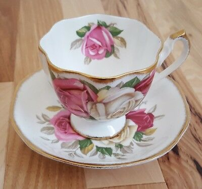Lady Sylvia Queen Anne Tea Cup and Saucer Fine Bone China Made In England ROSES
