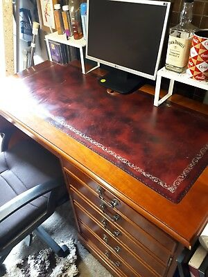 Mahogany Wooden Leather Top Desk