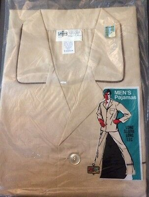 NEW NWT NIP Medium True Vtg 70s mens TAN  2 PIECE Long Sleeve PAJAMAS K-MART