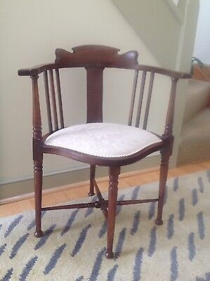 Antique Edwardian Hardwood Mahogany Corner Bedroom Chair Reupholstered