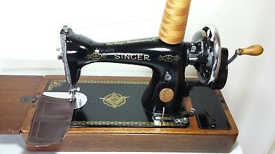 Heavy Duty Singer 15K Manual/ Hand crank Sewing Machine, sews Leather, Serviced