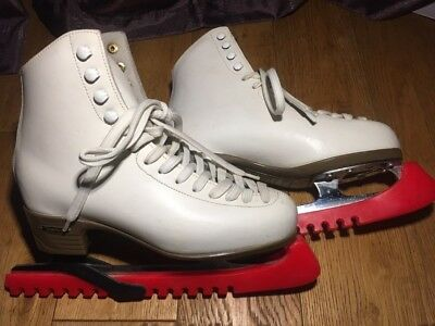 Ladies white leather Risport Laser skating/iceskating boots. Size 4.