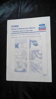 Original Ford Tractor Owners Maintenance Manual For 5640 To 8340 Sl & Sle