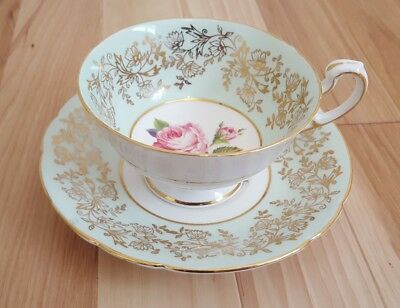 Vintage Paragon Teal Pink Rose Tea Cup and Saucer. By Appointment Majesty Queen