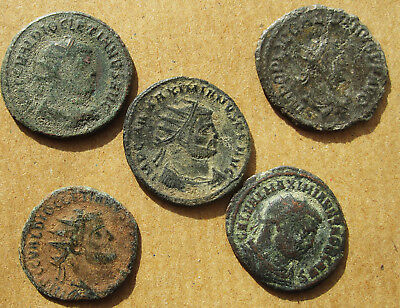 Five late Roman radiate coins.  Various emperors.  (15)
