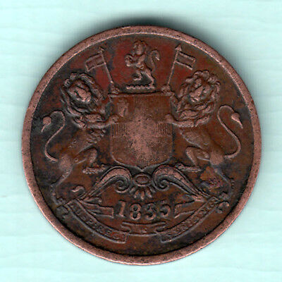 British India 1835 Extremely RARE Copper 1/2 Anna Coin East India Company 239