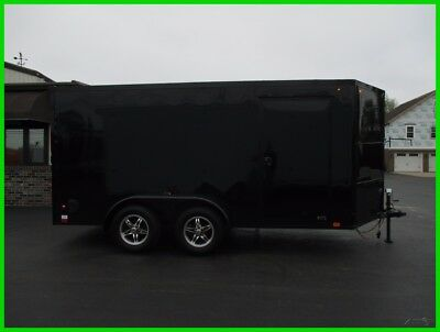 New 16 United 14' Black Out V-Nose Enclosed Motorcycle Trailer