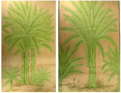 X2 LARGE INDIAN WATERCOLOURS ON CLOTH TROPICAL TREES 115cm X 67cm each