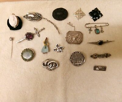 Job Lot 17 Sterling Silver Antique Vintage Brooches Margot De Taxco  Irish Jade