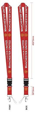 Manchester United Lanyard Keychain Holder Football Red PRINTED both sides