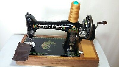 Heavy Duty Singer 66K Manual/ Hand crank Sewing Machine, sews Leather, Serviced